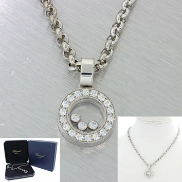 Chopard 18k Solid White Gold .48ctw Happy Diamonds Circle Link Pendant Necklace