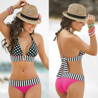 High Waisted Retro Fringe Vintage Bikini Swimsuit Bathing Swim Polka Dots Dot = 1955923780