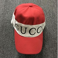 Gucci Popular Women Men Personality Knit Letter Logo Headband Sports Sun Hat Baseball Cap Red