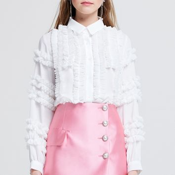 Blair Pearl Buttoned Satin Skirt Discover the latest fashion trends online at storets.com