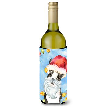Christmas Lights Boston Terrier Wine Bottle Beverage Insulator Hugger CK2473LITERK