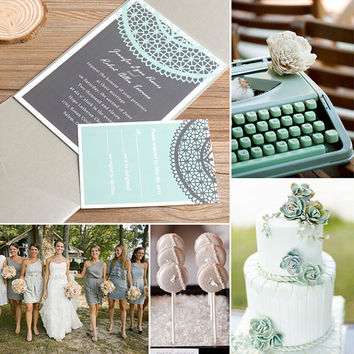 Mint Green Wedding Invitations - Silver Pocket wedding invites - Tri Fold, Formal and Elegant EWPI034