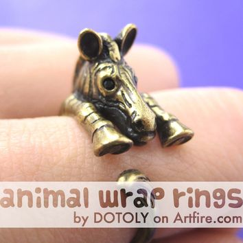 Zebra Horse Animal Wrap Around Ring in Brass - Sizes 4 to 9 Available
