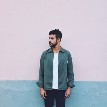 Shore Leave by Urban Outfitters Brushed Herringbone Green Shirt - Urban Outfitters