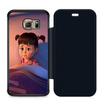 Monsters Inc Boo Cry Leather Wallet Flip Case Samsung Galaxy S6 Edge