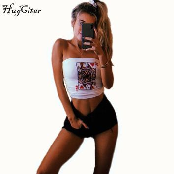 Hugcitar cotton poker face print fashion tank top  women stretchy sexy camis crop top