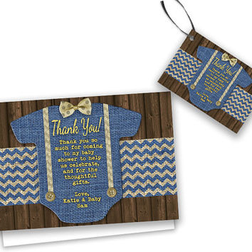 Burlap Boy Baby Shower Thank You Cards - Country Bowtie Baby Shower Tags - Rustic Thank You Tags - Party Favor Tags - Blue Boy Baby Shower