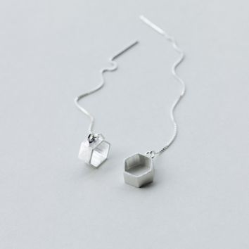 Geometric  brushed silver earrings + Gift box ALQ1023E