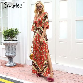 Simplee Sexy boho print lace up backless long maxi dress