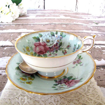 Paragon Bone China Teacup and Saucer / Paragon Cup and Saucer / Tea Party / Bridal Shower / Turquoise from AllieEtCie