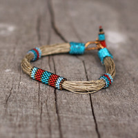 Colorful ethnic bracelet, linen bracelet blue, red, teal, organic jewelry, rustic birthday gift for her