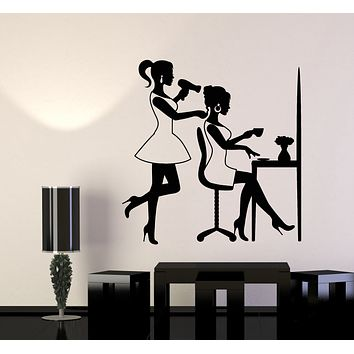 Vinyl Wall Decal Barber Girl Beauty Salon Hair Woman Stylist Art Stickers Mural (g276)