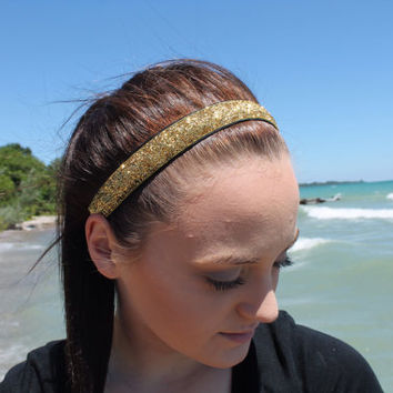 Nonslip Gold Glitter Headband – No Slip Stretchy Sports Headband – Ribbon & Elastic Hair Accessory – Athletic Head Band – Softball Gift