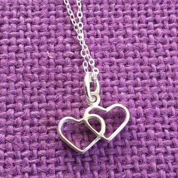 Heart Necklace - Double Heart - Anniversary Gift - Gift for Wife - Love - Gift for Lover - Gift for Her - Wife Gift - Valentine's