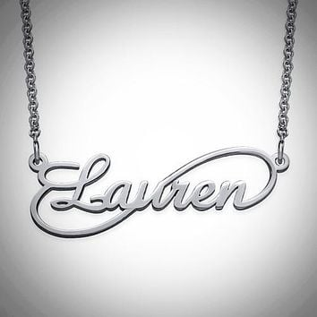 Personalized Infinity Style Name .925 Sterling Necklace