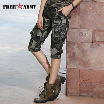 High Quality Camo Shorts Models Feminino Pantalones Cortos Mujer Summer Women's Camouflage Knee-Length Shorts Gk-9388B