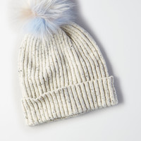 AEO Pom Donegal Beanie , Light Heather