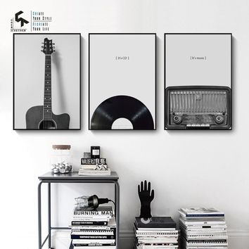 CREATE&RECREATE Wall Art Canvas Painting Guitar Music Poster Vintage Posters And Prints Home Decoration Pictures CR1810114001