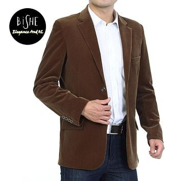 Men's Cotton Corduroy Coat Single Breasted Blazer Jacket Mens Casual Costume Homme