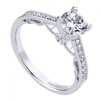 14K White Gold .93cttw Bead Set Vintage Style Round Diamond Engagement Ring