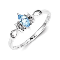Sterling Silver Genuine Diamond And Sky Blue Topaz Ring