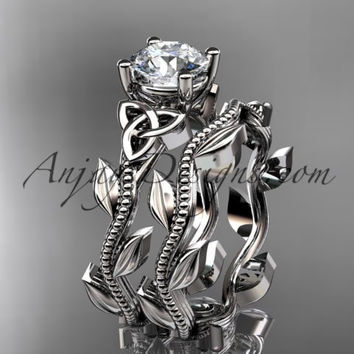 14kt white gold diamond celtic trinity knot wedding ring, engagement set CT7238S