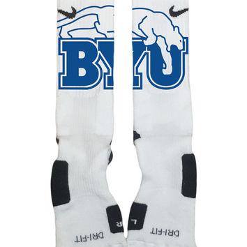 Nike Elite Socks Custom Made-Brigham Young University-Socktimus Prime