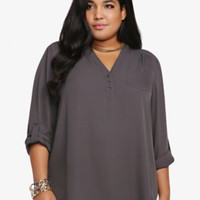 Mandarin Collar Tunic Top