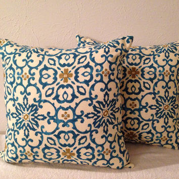 Decorative-Accent-Throw-Set of Two 18 inch Pillow Covers -Scroll Lagoon-Free Domestic Shipping
