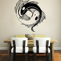 Wall Decal Vinyl Sticker Decals Koi Fish Yin Yang Symbol Geometric Floral Patterns Wall Stickers Home Decor Art Bedroom Design Interior Mural