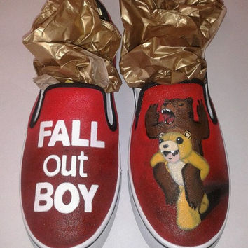 Custom Hand Painted Fall Out Boy Slip on Shoes (Generic)