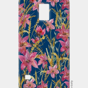 Painted Wildflowers On Blue Background Floral Samsung S5 Cases | Artist : Seema Hooda