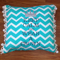 Zeta Tau Alpha Keep Calm and Wear A Crown Embroidered Customizable Pillow