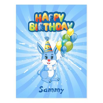 Blue Bunny Birthday Cartoon Postcard