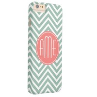 Mint and Coral Chevrons Custom Monogram