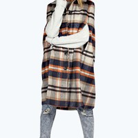 Etta Brushed Check Button Through Long Cape