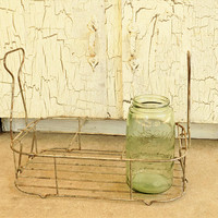 Metal Bottle Carrier, Folding Handles, Vintage Storage Bin