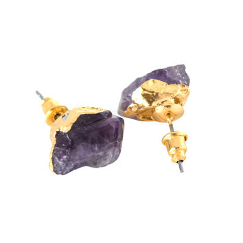 Amethyst & Gold Stud Earrings
