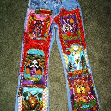 Zodiac Patchwork Jeans - Funky Decoupage Denim - Custom Hand-Embellished Jeans for Juniors/Ladies - All Sizes Available