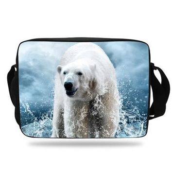 Boys bookbag trendy Fashion Girl School Bags Boys Trave bag Zoo Animals Messenger Bag For Teenagers  Polar bear Shoulder Bag For Men AT_51_3