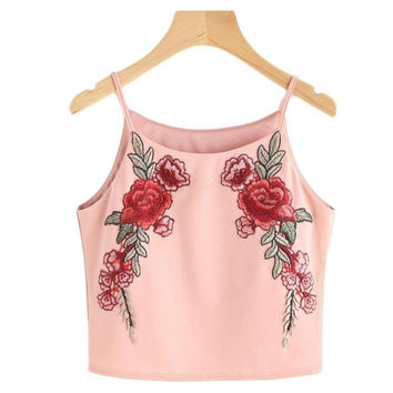 Ladies  Style Flower Embroidery Vest Tank Top Ladies Casual Tops Sleeveless Strappy Crop Top Women Camisole Femme #23 BL