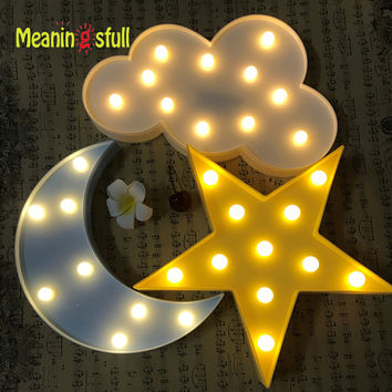 Meaningsfull Led Flamingo Night Light Marquee Sign Star Cactus Table Lamps Romantic 3D Wall Lamp Kids Children Gift Home Decor