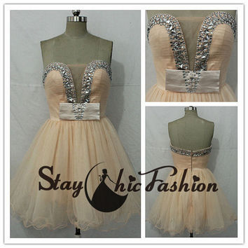 In Stock, White Black Pearls Beaded Top Short Chiffon Prom Dress,Girls Cute Prom Dress 2014