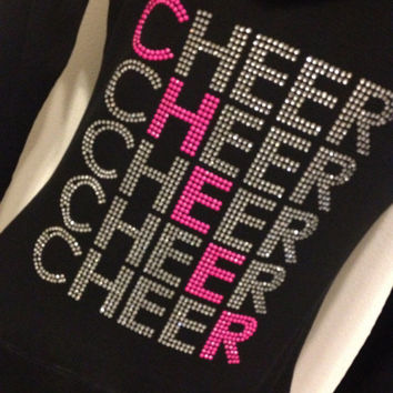 Rhinestone Cheer Hoodie Zip Up Jacket