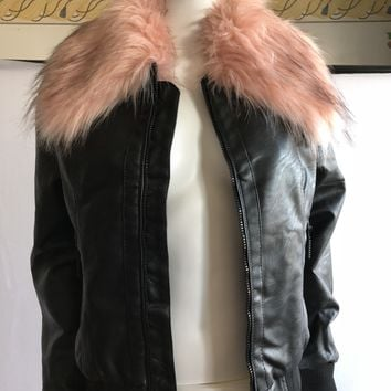 Roca Wear Classic Faux Fur Vegan Leather Bomber Jacket