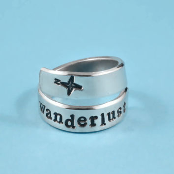 wanderlust - Hand Stamped Aluminum Spiral Ring, Traveller's Ring, Ring for Dreamers