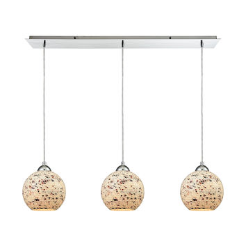 Crosshatch 3 Light Linear Pan Fixture In Polished Chrome With Spatter Mosaic Glass