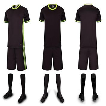 Free Shipping Cool Black Quick Dry Adult Soccer Sets Blank DIY Customized School Football Team Clubs Group Shirt Uniform Jerseys