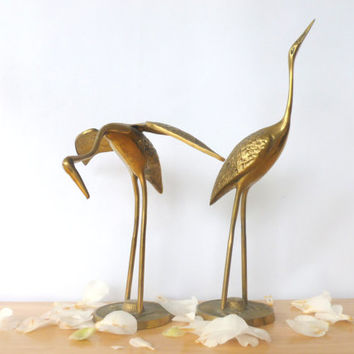 Vintage Brass Crane Figurine Leonard Silver MFG.CO Solid Brass Collection 1960s Brass Herion