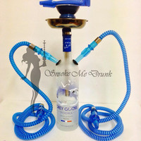 Grey Goose Vodka Custom Double Hose Hookah 750ml with Matching Hoses, Bowl, Tray, Tongs